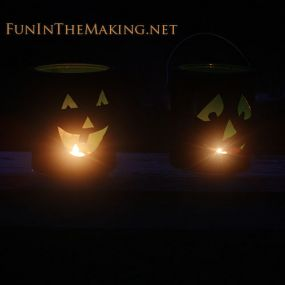Jack O Lanterns made from salvaged metal paint cans