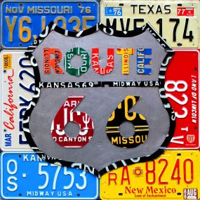 Route 66 sign made using vintage license plates from all 8 states the road travels through!