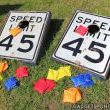 Repurposed Speed Limit Sign Cornhole Board Games