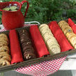 Its company party time and my kind hubbie signed us up to bring the cookies! Lucky for him I happened to have some homemade dough in the freezer so baking four different  varieties was a snap. These are sure to be a hit with the boss and the rest of the crew! Yummy!